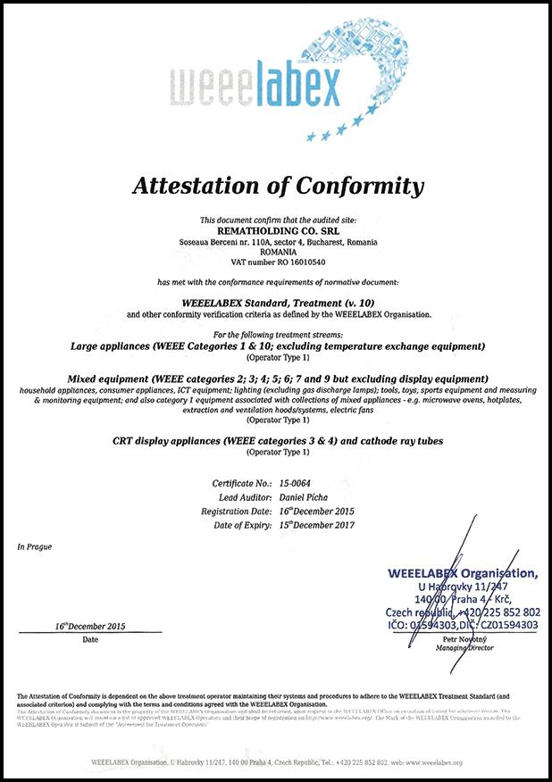 Prima firmă de reciclare din România care a obținut certificarea WEEELABEX